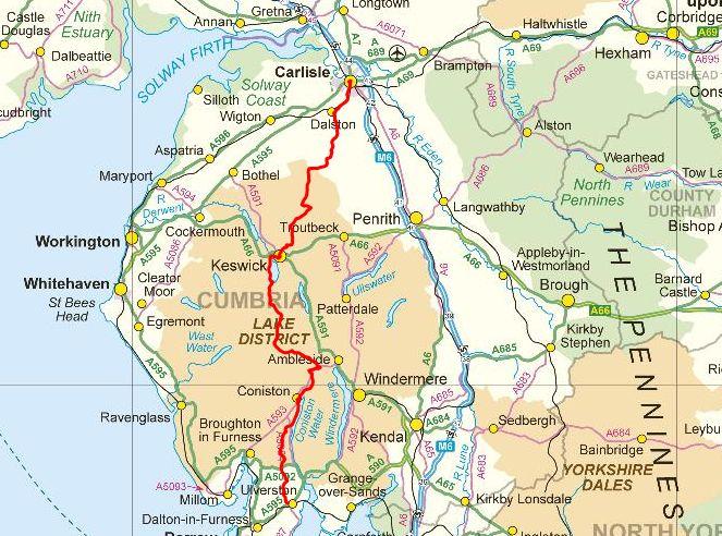 Cumbria Way route map