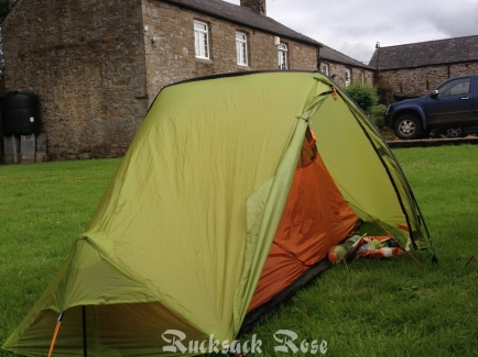Farmyard camping on the Pennine Way at Knarsdale, Northumberland