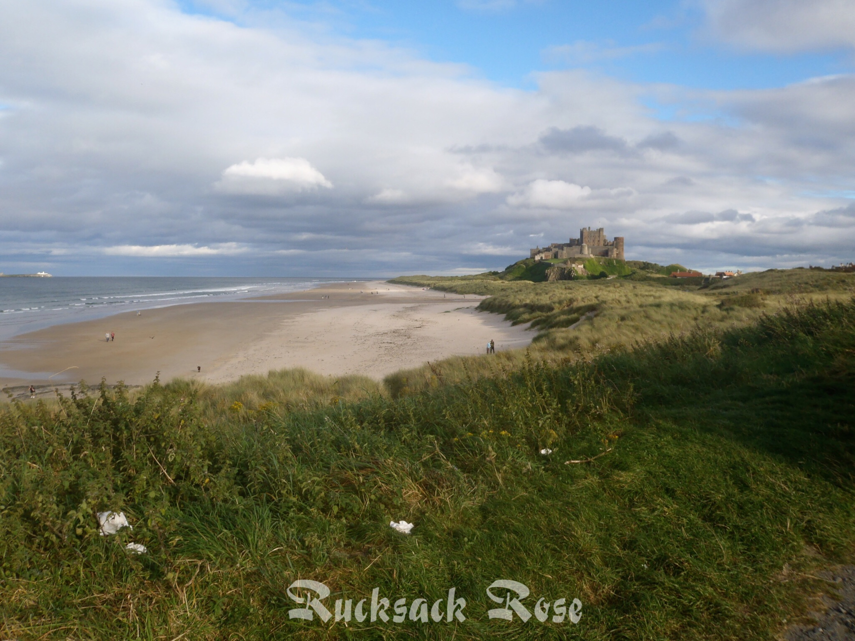 Looking south along Bamburgh beach towards the castle